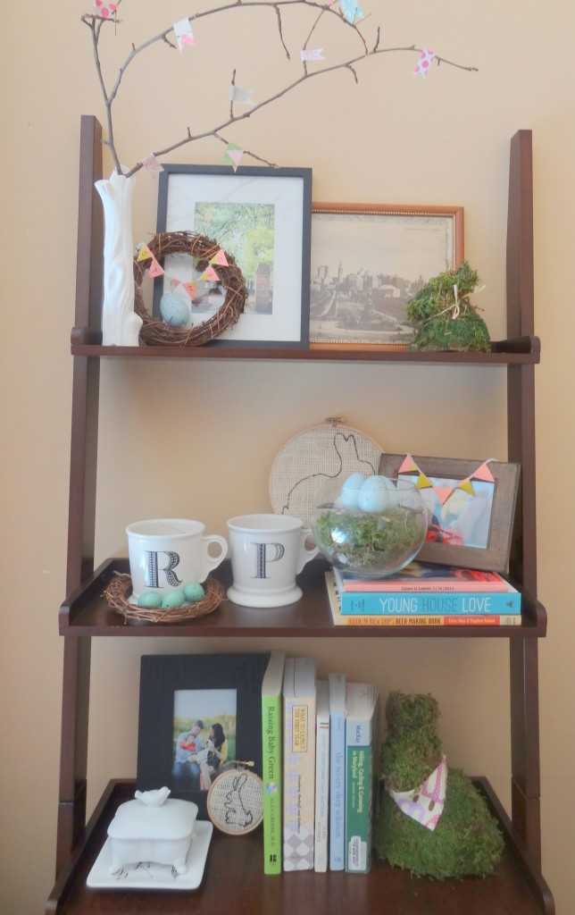Spring shelf styling
