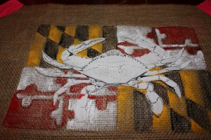 Burlap Maryland Crab Flag