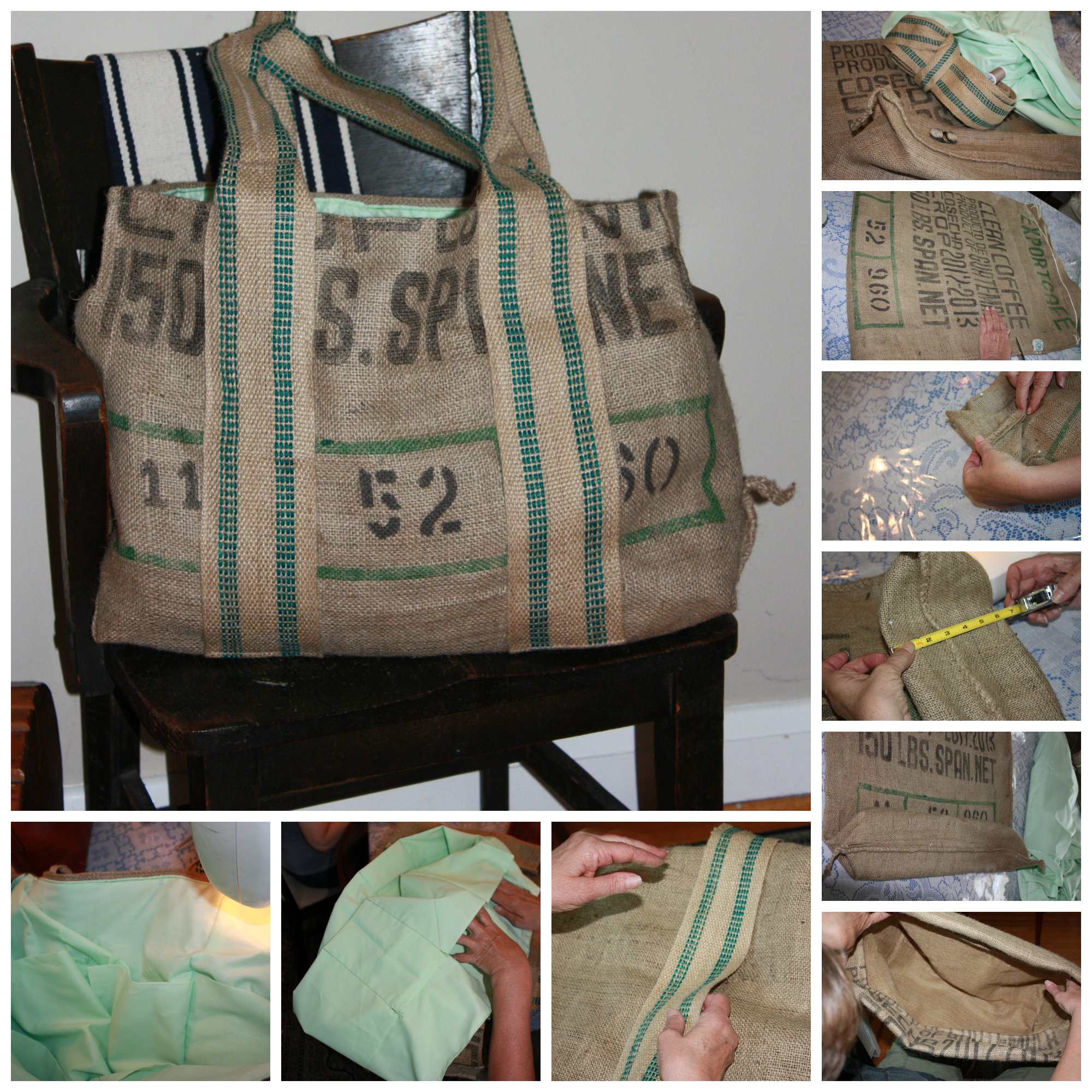 Burlap coffee bag crafts - Coffee Bag Tote Collage