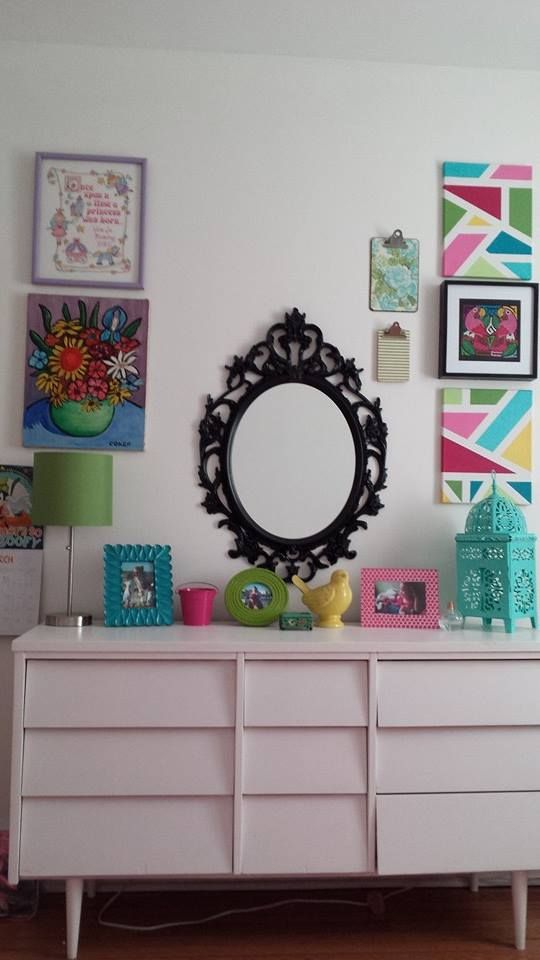 Transformation Tuesday- Painted Dresser.  Painted white and with some bright pops of color make this dresser perfect for my daughter's room